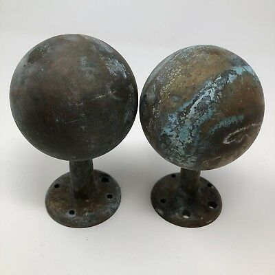 """Antique Pair Solid Brass Finials, Approx 5"""" Tall, Threaded but worn female"""