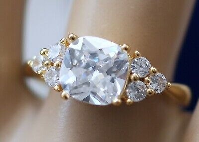 Vintage Jewellery Gold Ring White Sapphires Antique Jewelry size N