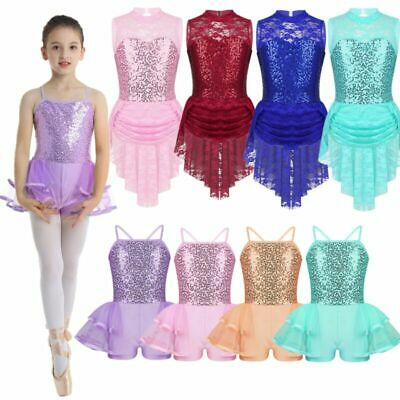 Girls Lyrical Ballet Dance Dress Latin Lace Sequins Leotard High Low-Hem Costume