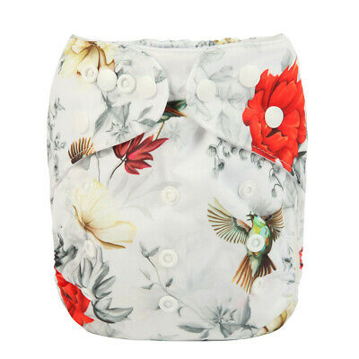New Baby Pocket Cloth Diaper Nappy Reusable Washable Hummingbirds Floral