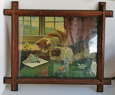 Vintage Tramp Folk Art Hand Crafted Timber Picture Frame with Cat Art (a040)