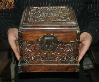 """9""""Ancient Old China Boxwood Wood carved Ganoderma Ruyi jewelry Box Boxes statue"""