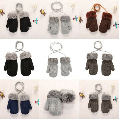 Universal 1-4Y Toddler Baby Outdoor Winter Patchwork Keep Warm Mittens Gloves
