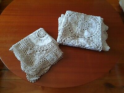 2 x Square Handmade Crochet and Embroidered Circles Tablecloths - 1 with tag