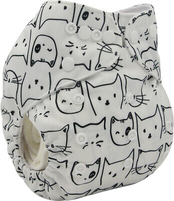 New Baby Pocket Cloth Diaper Nappy Reusable Washable White Cats