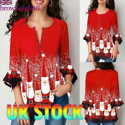 Women Christmas Santa Ruffled Blouse Tops Ladies Casual Tunic T Shirt Pullover