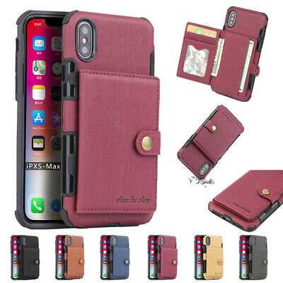 For iPhone XR XS Max 7 8 Leather Card Holder Buckle Wallet Flip Shockproof Case