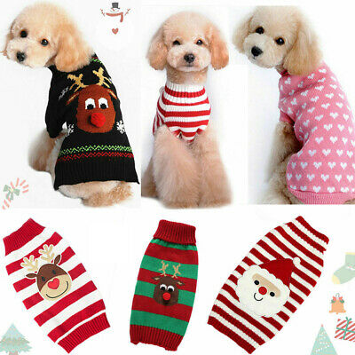 UK STOCK Dog Christmas Knitted Sweater Small Large Xmas Pet Cat Jumper Clothes