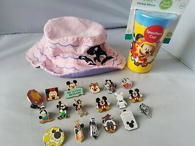Disney Baby Spoutless Cup Mickey Mouse Spill Proof + Pink Hat Trading Pins