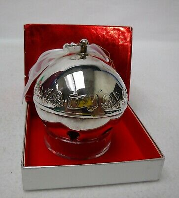 WALLACE Silverplate SLEIGH BELL1997 Christmas Ornament w/ Box SANTA & HOLLY