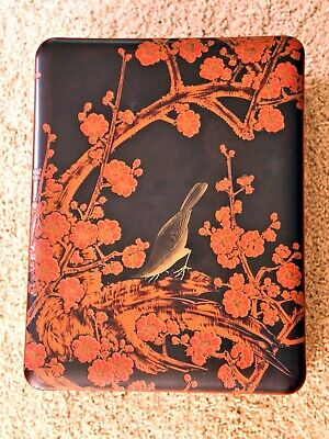 Antique Signed Japanese Lacquered wooden Box Beautiful Carved Relief  Blossoms