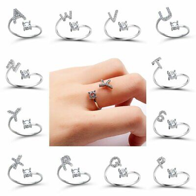 26 Capital Letter Crystal Unique Sizable Knuckle Rings Finger Women Silver Gift