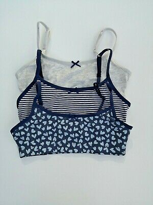 New M&S Girls 3 Pack Cotton Crop Tops Underwear  Age 7-8 Years RRP £9