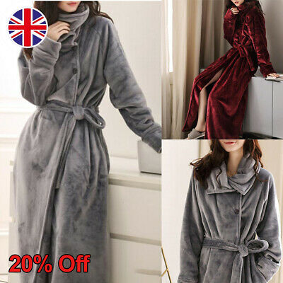 UK Women Winter Warm Belted Bath Robe Coral Fleece Nightwear Night Gown Dressing