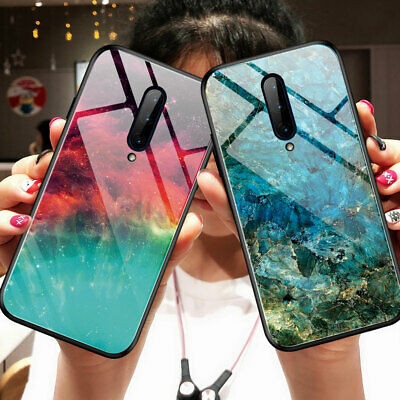 For OnePlus 7 Pro Hard Glass Case Hybrid Gradient Marble Temper Glass Back Cover