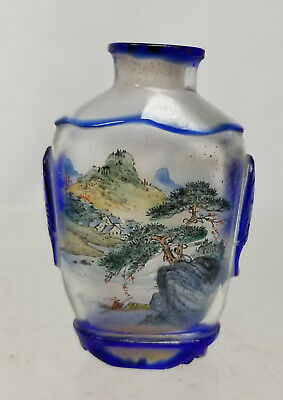 Antique Vintage Chinese Inside Reverse Painted Snuff Bottle Landscape