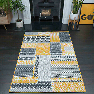 Ochre Mustard Yellow Patchwork Rug Contemporary Checked Living Room Grey Rugs