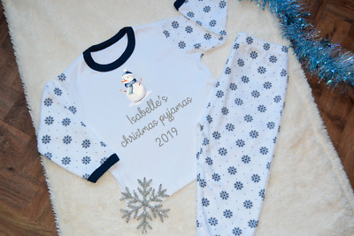 Personalised Names Christmas Pyjamas Snowflake Snowman Girls Boys Xmas Pjs
