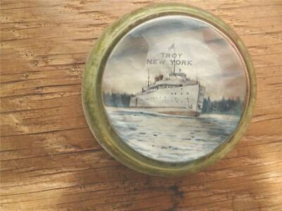 Vintage TROY NY Souvenir Paperweight, Steam Ship Troy