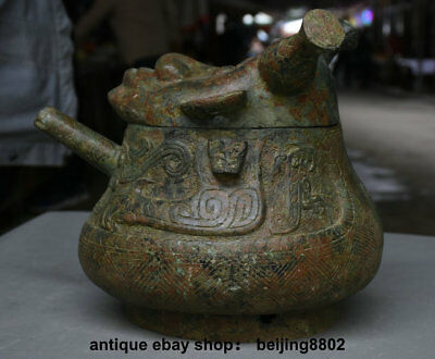 "12"" Antique Old Chinese Bronze Ware Dynasty People Face Wine Pot drinking vessel"