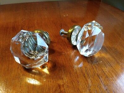 Antique Vintage Crystal Cut Glass Drawer Pull Knobs Faceted Star center