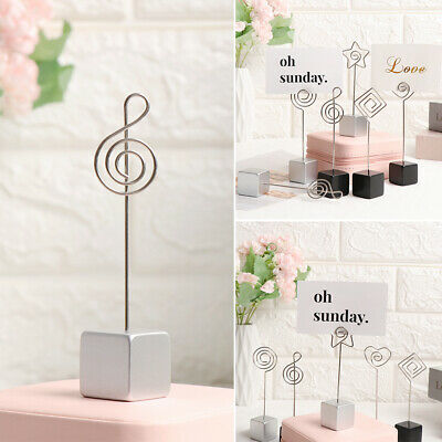 1Pcs Cube Base Table Place Card Note Photo Recipe Holder Memo Wire Clip Wedding