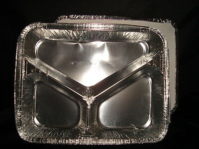 100 x Foil Container 3 Compartment Y Tray FAST FOOD TAKEAWAY CATERING (0324/6)
