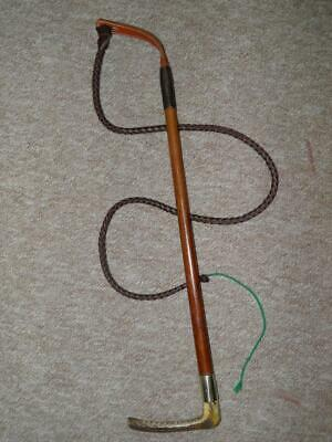 Antique Traditional Gents Malacca Cane Hunt Whip And Leather Lash