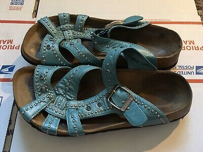 BIRKENSTOCK TURQUOISE STUDDED leather slide sandals Sz 36