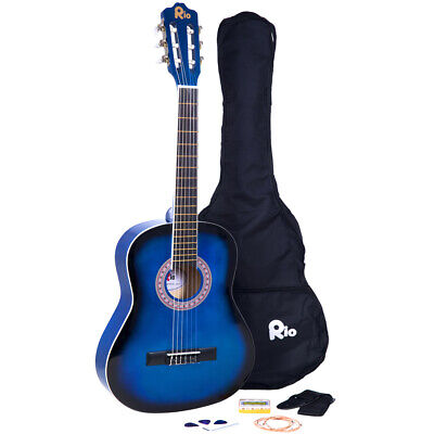 Rio 39'' Full Size 4/4 Beginner Classical Acoustic Guitar Pack Package Blue