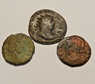 Bronze Ancient Roman coins Lot of 3, 16mm to 21mm diameter, nice