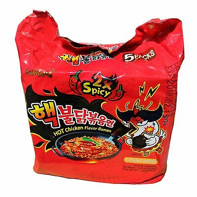 Korean Noodle Samyang 2xSpicy Stir Noodles Hot Chicken Ramen Halal (Pack of 5)