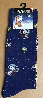High Point Design Snoopy Space Socks Blue Size 6-12 Men's Crew New Tags AR182