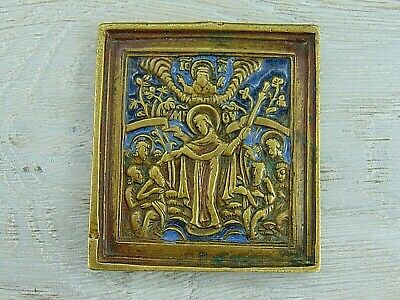 Antique 19th Russian Orthodox bronze enamel icon Mother of God