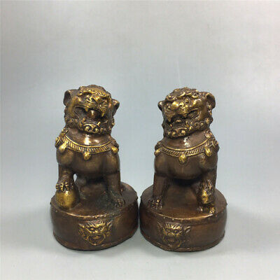 """4.53""""Collection Chinese red copper gilt Handmade Foo dog Lion statue A pair"""