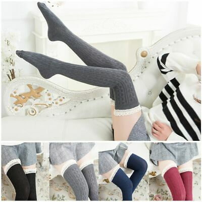 Fashion Cotton Girls Warm Tigh High Knit Lace Socks Over Knee Women Stockings
