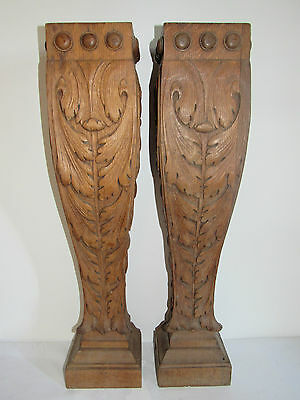 07C37 Antique Pair of Pillar Column Bolster Wood Carved Architecture XIX ° Th