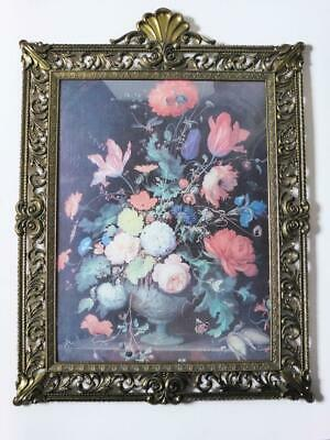 Antique Italian Floral Print in Ornate Brass Frame, 1920's Convex Glass Wall Art