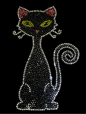 CAT KITTING FAСE RHINESTONE IRON ON APPLIQUE HOT FIX TRANSFER