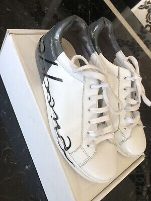 Exc Boys D&G Dolce & Gabbana White/Grey Trainers Size 36 Uk 3