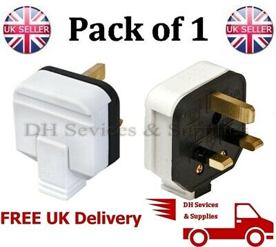 NEW White PermaPlug 13 Amp 240V UK 3 Pin Heavy Duty Body Rewire-able 13 A Plug