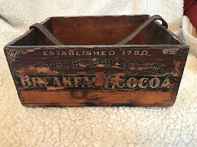 Walter Baker Breakfast Cocoa Vintage Wood Dovetail Box With Strap Handle