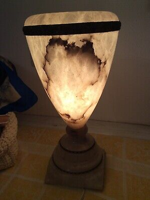 French White Alabaster Marble Urn Brass Mantle Hurricane Lamp Hollywood Regency