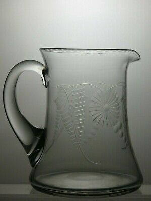 "Vintage Etched Glass Water Jug 6 2/3"" Tall"