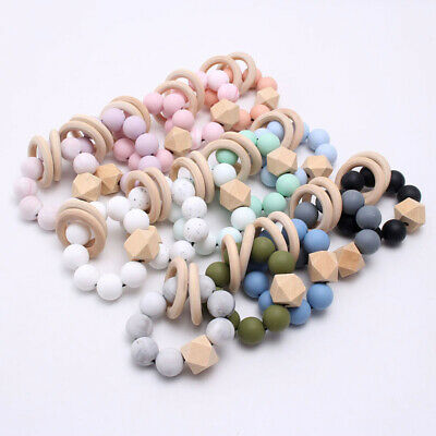 Baby Silicone Beads Wooden Ring Sensory Teething Bracelet Stroller Rattles Toys