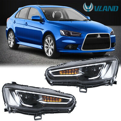 For 2008-2017 Mitsubishi Lancer / evo LED Projector Headlights Front Lamps Black