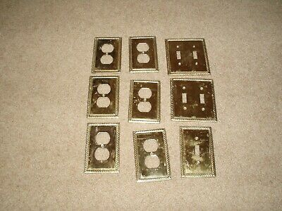 Used Solid Brass Switch and Receptacle Plates