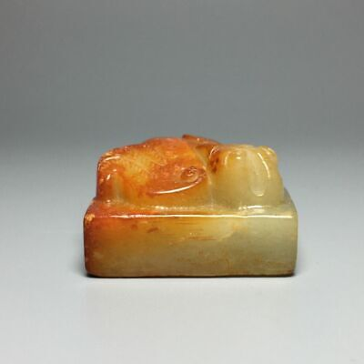 Chinese Qing dynasty 100% Natural hetian jade carved Phoenix statue seal signet