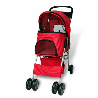 Pet Stroller Dog Cat Travel  Pushchair Pram Jogger Buggy With 4 Wheels Red