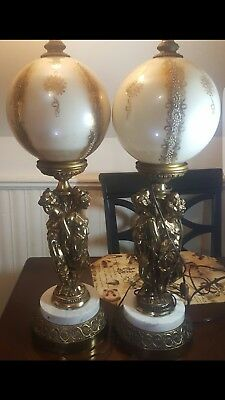 """Antique Gold Color Table Lamp  Glass Ball Marble Base 3"""" Graces"""